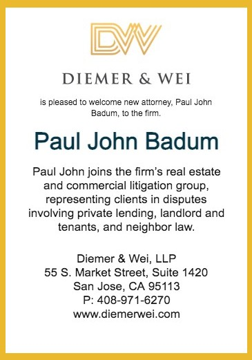 Diemer & Wei is Pleased to Welcome New Attorney, Paul John Badum, to the Firm.